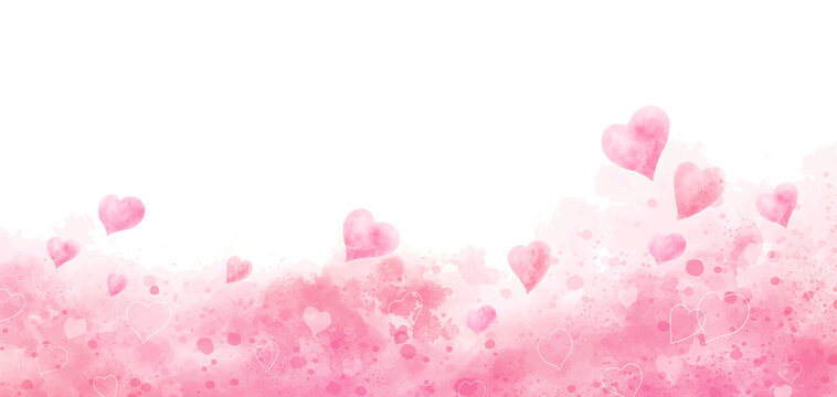 Valentine's day and wedding background design of watercolor hearts vector illustration