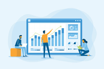 Obraz flat business team working analytics and monitoring research on web report dashboard monitor and business finance investment concept - fototapety do salonu