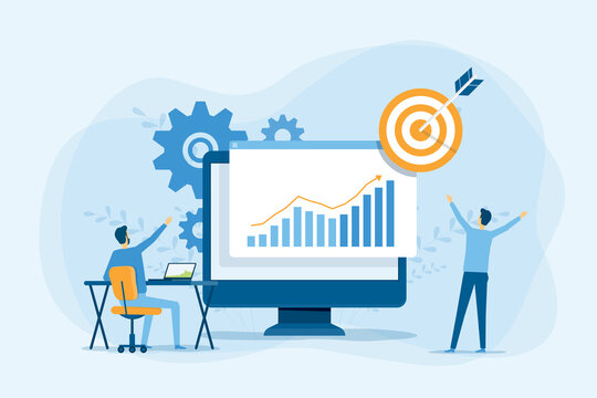 business people analytics and monitoring on financial investment report dashboard monitor concept and vector illustration design for business team meeting working concept