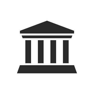Building icon. Building with iconic columns. Historic building. Vector icon isolated on white background.