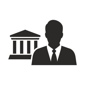 Lawyer icon. Law and judgement. Vector icon isolated on white background.