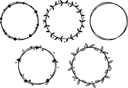 Set of six hand drawn cute frames minimalistic on transparent background. Art decorative outlined circular doodle illustrated abstract graphic vector element. Magical star and leaves and flowers femal