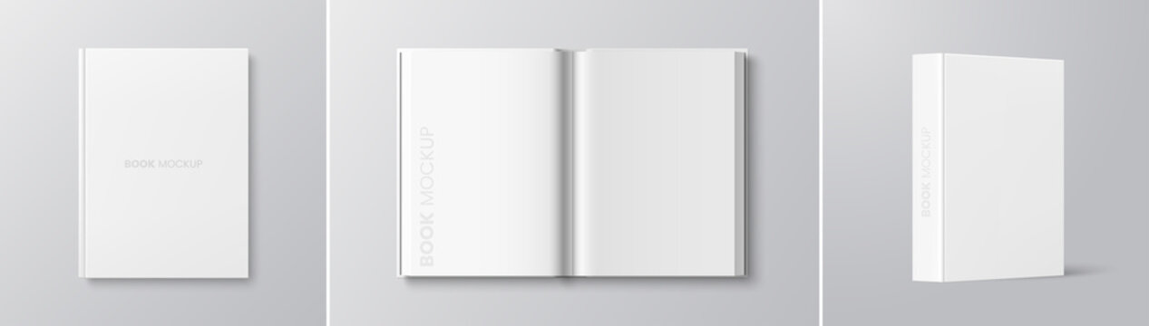 Vector white book mockup set - cover, spread, spine. Realistic blank book in hardcover in different angles. Top view. Applicable for design presentation. Eps 10.