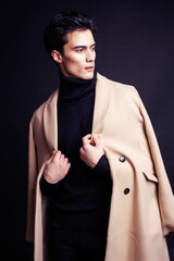 handsome asian fashion looking man posing in studio on black background, lifestyle modern people...