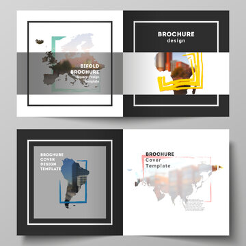 Vector layout of two covers templates for square bifold brochure, flyer, cover design, book design, brochure cover. Design template in the form of world maps and colored frames, insert your photo.