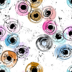 seamless circle pattern, abstract background with dots, swirls, paint strokes and splashes