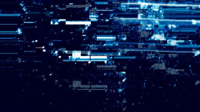 Defected Blue HUD interface 3D Illustration with abstract digital code. Concept glitch background as cyberpunk computer meltdown overlay with fragments and hex code of alien communication decryption