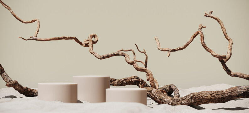 Minimal mockup background for product presentation. Podium and dry tree twigs branch with white sand beach on beige background. 3d rendering illustration. Clipping path of each element included.
