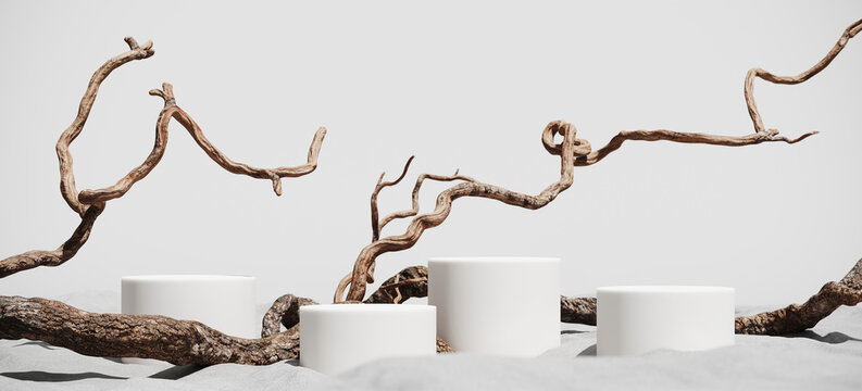 Minimal mockup background for product presentation. Podium and dry tree twigs branch with white sand beach on white background. 3d rendering illustration. Clipping path of each element included.