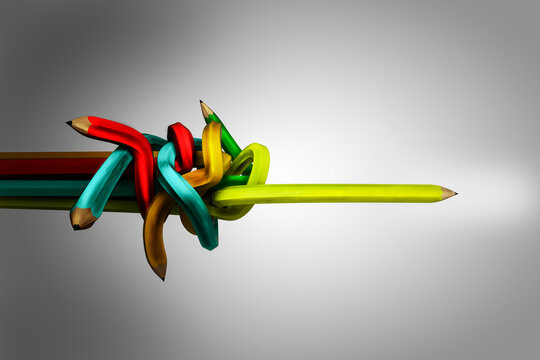 Chaos and disorder in the shape of colored pencils turns into a straight yellow pencil in white-gray background. Psychotherapy and psychology help or ways of problem solving concept. 3D illustration