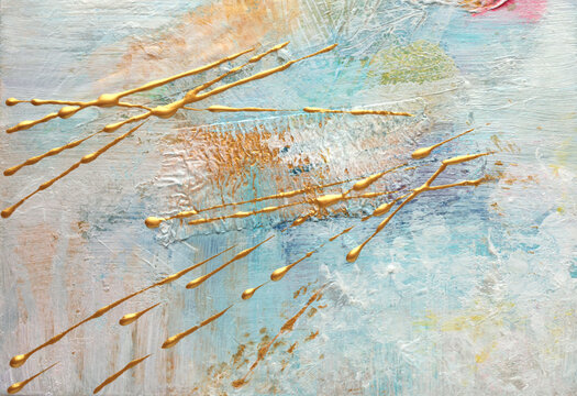 Art Abstract acrylic and watercolor  smear blot painting with gold glitter. Pastel color texture background.