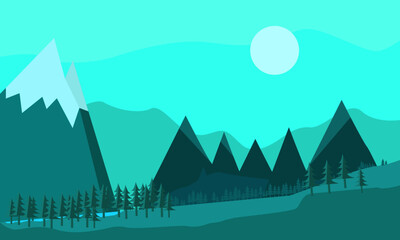 Winter blue mountain view flat illustration