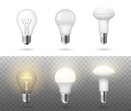 Low energy fluorescent halogen and incandescent light bulbs realistic set