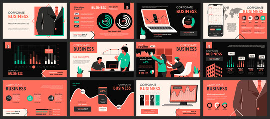 Obraz Business meeting presentation slides templates from infographic elements and vector illustration. Can be used for presentation teamwork, brochure, marketing, annual report, banner, booklet. - fototapety do salonu