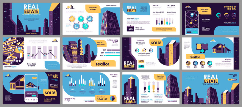 Real estate presentation slides templates from infographic elements and vector illustration. Can be used for presentation real estate agency, brochure, marketing, annual report, banner, booklet.