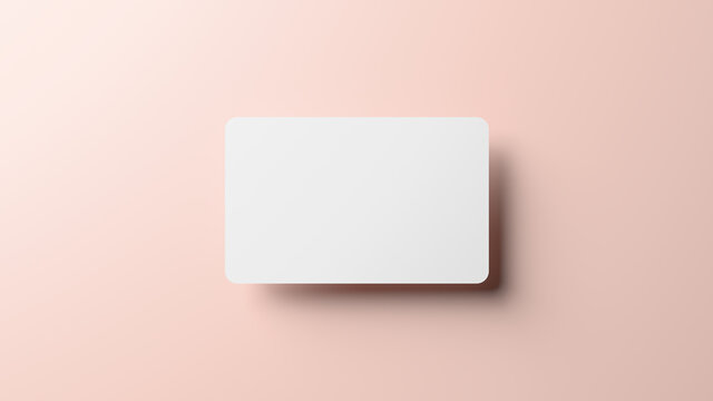 Blank credit card mockup floating over a neutral background in realistic 3D rendering. Rounded corners business card mock up for design template