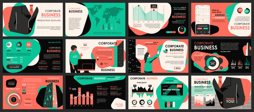 Business meeting presentation slides templates from infographic elements and vector illustration. Can be used for presentation teamwork, brochure, marketing, annual report, banner, booklet.