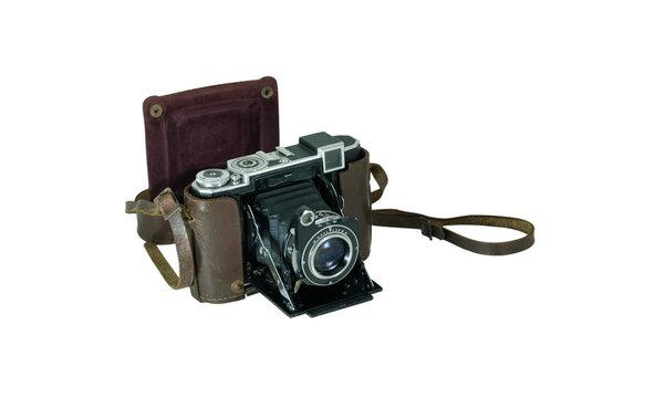 Câmara fotográfica antiga com objectiva de fole em papel e mala de protecção em couro castanho - aberta