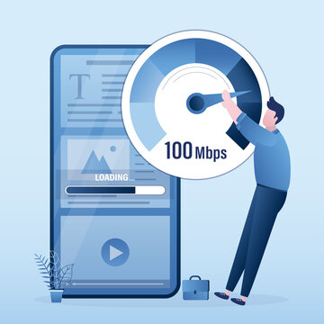 Slow loading of media content on smartphones. Speed test. Male user pulls an arrow on measuring scale. Signal quality improvements, tariff with fast mobile Internet.