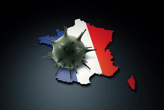 Pandemic COVID-19 3d render concept: Coronavirus cell on France map covered with France flag. Conceptual 3d rendering of coronavirus.