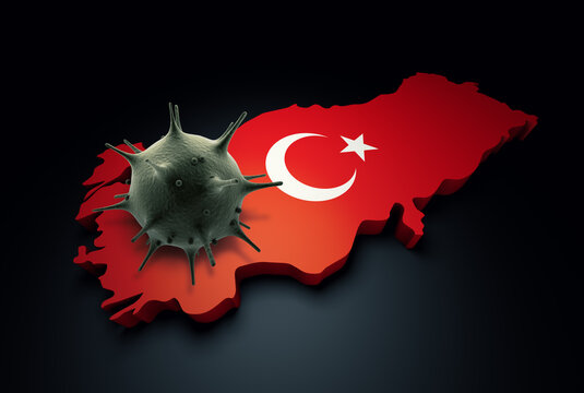 Pandemic COVID-19 3d render concept: Coronavirus cell on Turkey map covered with Turkish flag. Conceptual 3d rendering of coronavirus.