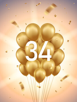 34th Year anniversary celebration background. Golden balloons and confetti with sunbeams in background.