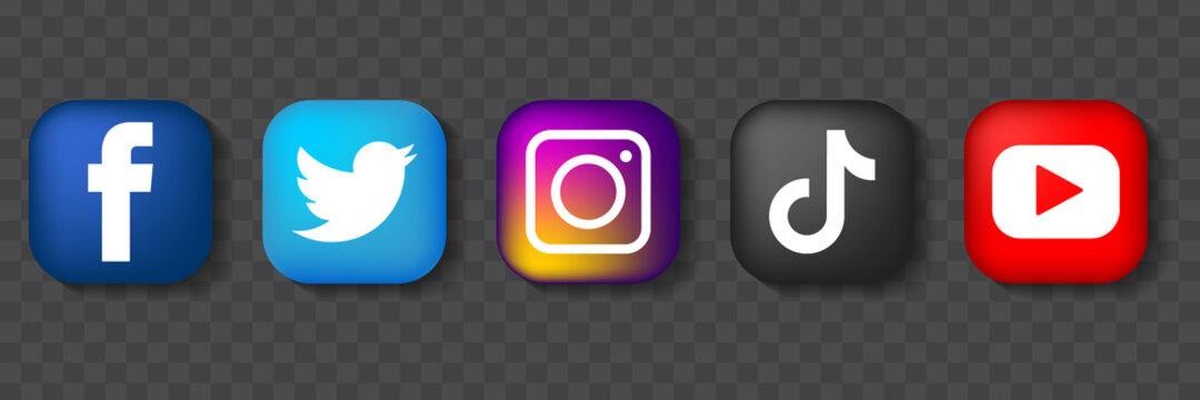 Set of social media networking icons. 3D logo instagram, twitter, TikTok, YouTube, Facebook