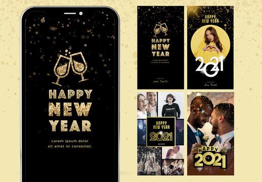 Happy New Year Digital Card Layout Kit