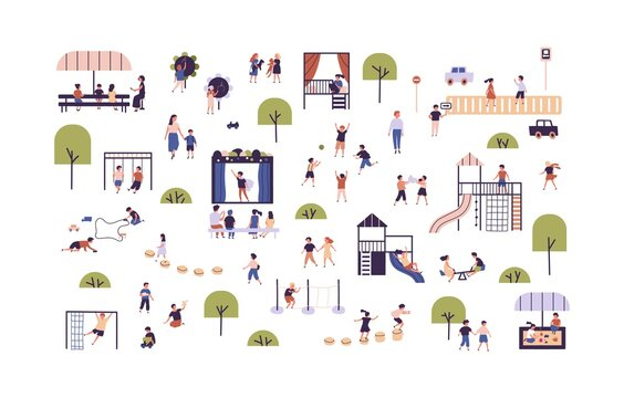 Collection of cute boys and girls enjoying outdoor activities vector flat illustration. Set of children playing games, having fun at playground, walking, spending time together isolated on white