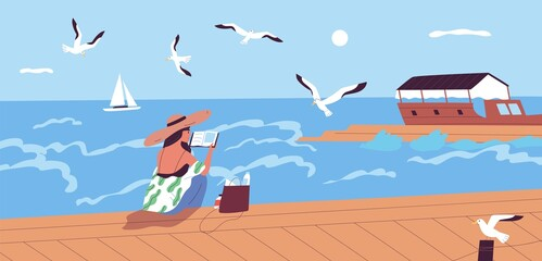 Woman reading book at waterfront alone vector flat illustration. Female character spending time alone enjoying literature and summer sea landscape. Relaxed person sitting on embankment