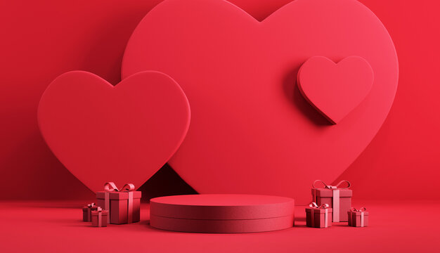 Minimal podium product background for Valentine, Red heart and gift box with ribbon bow on red background. 3d render.