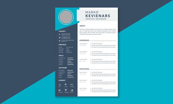 Elegant resume template layout