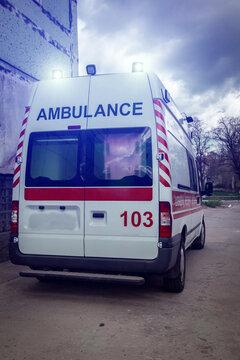 ambulance covid-19 car . Ambulance auto paramedic emergency.