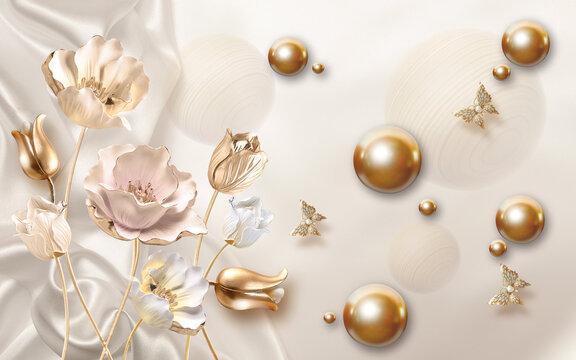 Beige silk background, white, beige and golden roses, and golden ball, 3d illustration