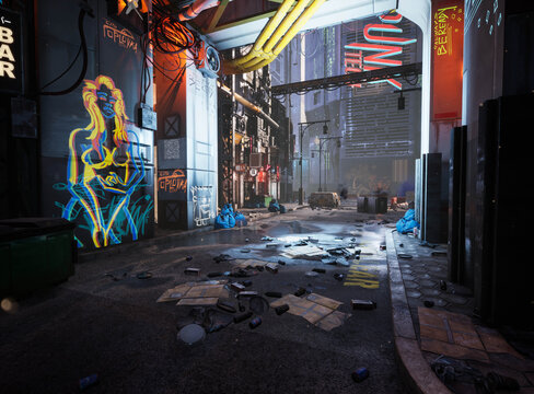 A 3D rendered cyber punk urban scene with neon signs and dirty a dirty alley