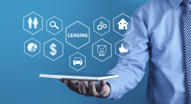 Man holding tablet computer. Leasing. Business concept
