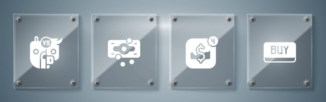 Set Buy button, Mobile stock trading, Stacks paper money cash and Bull and bear of market. Square glass panels. Vector.