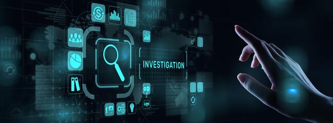 Obraz Investigation inspection audit business concept on virtual screen. - fototapety do salonu