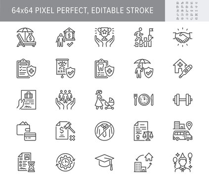Employee benefits line icons. Vector illustration with icon - hr, perks, organization, maternity rest, sick leave outline pictogram for personal management. 64x64 Pixel Perfect Editable Stroke