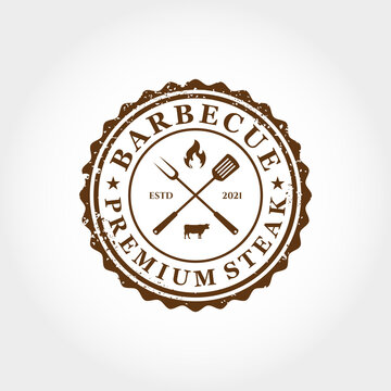 barbecue premium steak retro logo design