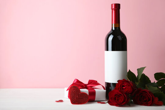 beautiful valentine's day background on colored background with place for text