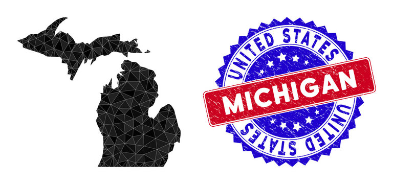 Michigan State map polygonal mesh with filled triangles, and rubber bicolor stamp seal. Triangle mosaic Michigan State map with mesh vector model, triangles have variable sizes, and positions,
