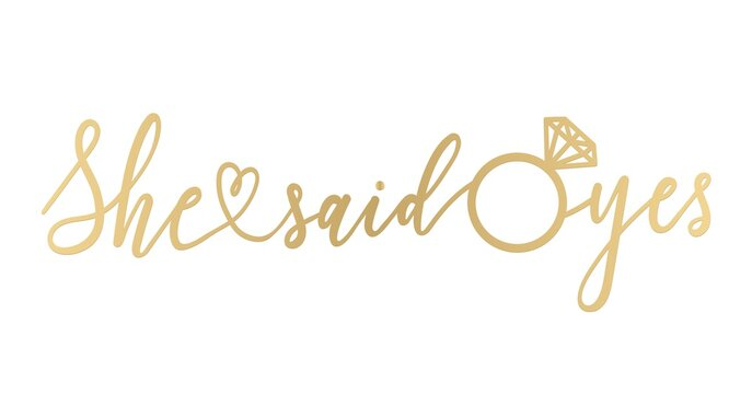 She said yes golden lettering sign. Modern calligraphy for banner, bridal shower or engagement party invitation. Vector illustration.