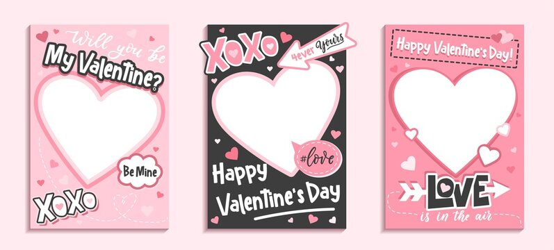 Valentine's Day colorful photo frame and backgrounds with pink hearts and love quotes.Will you be my Valentine printable photo template.Happy Valentine's day photo booth props set.Vector illustration