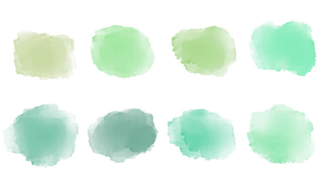 Set of pastel green watercolor brush isolate on white, vector.