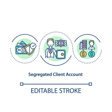 Segregated client account concept icon. Funds security. Separate company bank account. Asset management idea thin line illustration. Vector isolated outline RGB color drawing. Editable stroke