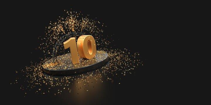 tenth anniversary celebration with confetti