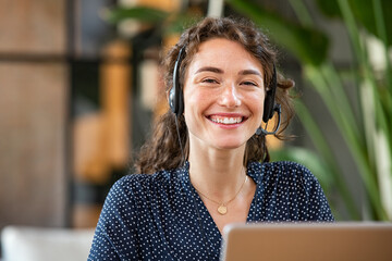 Successful customer service agent working at office