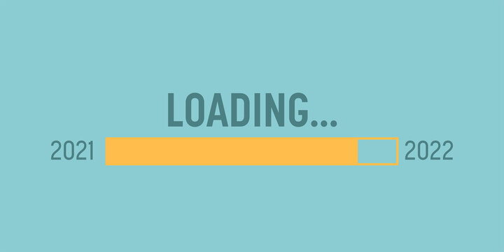 Loading bar 2020 to 2021 for goal planning business concept, vector illustration for graphic design, flat style