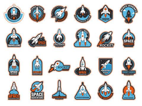 Rocket logo. Infinity shuttle in cosmos lunch startup symbols recent vector illustrations. Rocketship launch rocket logo, flight to moon and mars